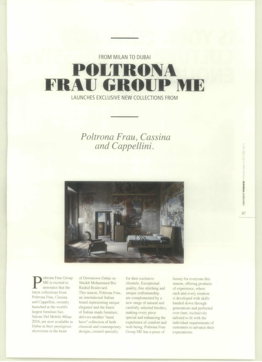 Poltrona Frau Group Coverage - Executive Women - January 2017